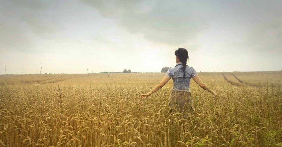 woman-standing-on-rice-field-during-cloudy-day-721999